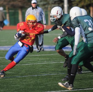 City gridiron painted red, yellow and blue