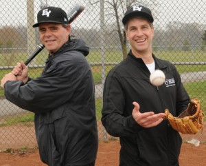PRESIDENTS PAST AND PRESENT: Past President of the East York Baseball Association Mark Ireland, left, and his successor Andrew Pace are working to update their league's profile.