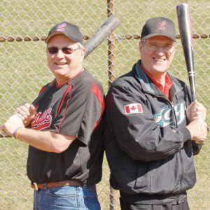 DOUBLE BARRELED: Junior team coach Kent Duncan and Leaside Baseball Association president Howard Birnie are welcoming the arrival of another baseball season filled with tournaments, barbeques and hopefully more championship titles.