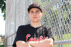 Brian Baker/Town Crier OFF THE CLOCK: Junior Leaside Leafs' starter Owen Laing looks to take a break from baseball for a year to pursue a career as a carpenter. You can't keep him away from the diamond though, he says.