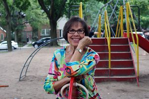 Brian Baker/Town Crier SHARON AND FRIENDS: Sharon Hampson at the playground that's proposed to be named after her group Sharon, Lois and Bram.