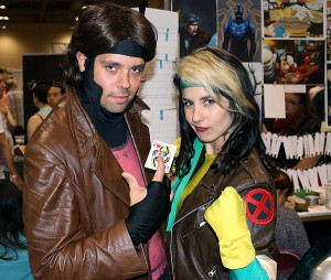 Brian Baker/Town Crier JUST BE COS: Toronto couple Peter Horswill and Rogue Benjamin, dressed as X-Men characters Gambit and Rogue, were large as life circulating among other role-playing families attending FanExpo this fall at the Metro Toronto Convention Centre.