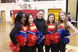 BRIAN BAKER/TOWN CRIER SPREADING THE CHEER: Former Toronto Argonauts cheerleader Brigitte Grenier, centre, joins Northern students Daniella Katsetos, Emma Peters, Sarah Bahreini and Shabazz Mullings-Raymond who make up the Northern Red Knights cheer squad.
