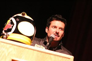 BRIAN BAKER/TOWN CRIER DRIVEN TO RAISE AWARENESS: Race car driver Alex Tagliani engages students at Northern Secondary School to raise awareness of food allergies. He visited the school April 3, on a mission to promote the necessity for those with food allergies to carry an epipen.
