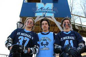 BRIAN BAKER/TOWN CRIER BLUE FORCE: St. Michael's Blue Gaels will look for strong leadership from some of their NCAA Division 1 prospects, from left Adrian Torok-Orban, Nick Ellerton and Tanner Thomson, as they set their sights on OFSAA gold in lacrosse.
