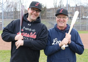 BRIAN BAKER/TOWN CRIER GOOD REPUTATION: Leaside Baseball Association members Dan Berlin, left, and president Howard Birnie are working to accommodate 360 additional baseball players at the rookie ball and mosquito levels. An application has been given to the Jays Care Foundation via the Field of Dreams program to revitalize the field at Bennington Heights Park.