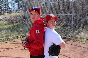 BRIAN BAKER/TOWN CRIER NORSE CODE: North Toronto Norsemen pitcher Ian Wellman, left, and third baseman Jon Fagnola have their sights set on OFSAA this year. The senior players came close to making the South Region final last year but lost it on the last play of the last inning.
