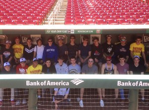 PHOTO COURTESY BRIAN GAW RIDING THE PINE: Northern Red Knights baseball team sits in the dugout of St. Louis Cardinals April 25, during a team trip to both Kentucky and Missouri. The team arrived home on April 27 in time to kick off the new campaign.