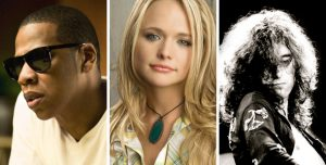 From left to right, Jay Z, Miranda Lambert and Jimmy Page.