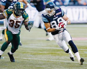 PHOTO COURTESY ARGONAUTS.CA LEADING THE CHARGE: When Toronto Argonauts wide receiver Mike Bradwell isn't hitting the field for the Double Blue, the Leaside High School alum is working with local charities to raise awareness of cancer.