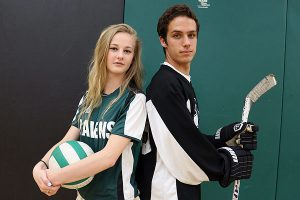 BRIAN BAKER/TOWN CRIER UNITED WE STAND: Rosedale Heights School of the Arts athletes of the year, Maggie Grundy-Glynn, left, and Connor Wooldridge want schools that aren't focused on the arts to not take the Ravens lightly.