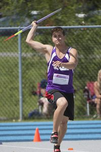 PHOTO COURTESY CLAUDE ROUSSEL SPEARHEADING HIS OLYMPIC CAMPAIGN: William Christodoulou, seen here at the 2014 Canadian Junior Track and Field Championships, is looking to reach his goal of representing Canada in javelin at the 2020 Olympic Games in Tokyo, Japan.
