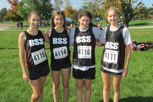 PHOTO COURTESY BSS BOBCATS ON THE PROWL: From left, Alexa Farrah, Maddy McCarthy, Nicole Posesorski and Aleksa Gold pose for a team shot during the Colts Invitational on Oct. 2.