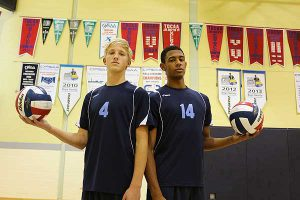 BRIAN BAKER/TOWN CRIER  TOUGH COMPANY: Tomas Sorra, left, and Taryq Sani, look to power St. Mike's Strikers in their pursuit of OFSAA gold this year. They'll have some obstacles to overcome, but they're both confident they can bring a provincial title home after five consecutive years of CISAA titles.