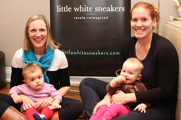 BRIAN BAKER/TOWN CRIER MOMS ON A MISSION: Kara Kennedy, left, with daughter Ayla, and Raegan Kennedy, with her daughter Hilary, launched their online second-hand clothing shop in October. The two professionals found an opportunity to reach out to families who shop online for their children's clothes.