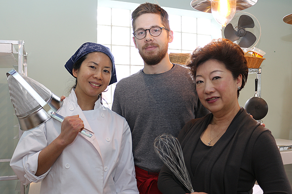 BRIAN BAKER/TOWN CRIER READY TO MIX IT UP: Charmaine Kuruc, left, Dustin Kuruc and Teresa Ho are combining the baking prowess and family spirit to whip up some macarons at their bakery, Charmaine's Sweets.
