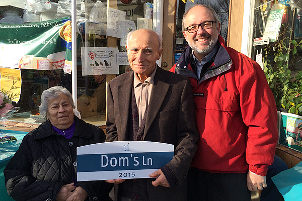 PHOTO COURTESY JOE MIHEVC KEEPING IT LOCAL, LOCAL: Domenico Cozzi, middle, was one of 10 community heroes of Ward 21 to have anonymous laneways named in their honour. Councillor Joe Mihevc is opening up the nominations again this spring.