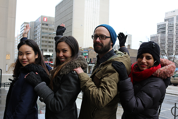 BRIAN BAKER/TOWN CRIER THAT'S THE CANVASS: Gloria Zhou, left, Katie Fong, Vadim Taraskine and Anjuli Solanki show off 1 St. Clair West, and the canvass world renowned artist Phlegm will be painting on.