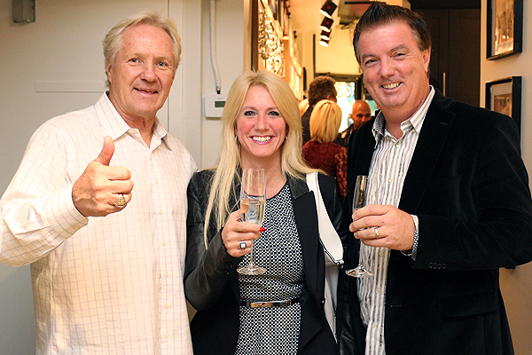 BRIAN BAKER/TOWN CRIER ARCHIVES THUMBS UP: Darryl Sittler, left, seen here during the Kitchen Court's opening in October 2014, is a member of the Canada Walk of Fame's Class of 2016.