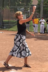 PHOTO COURTESY JILLIAN WALSH PREMIER PITCH: Premier Kathleen Wynne was on hand to throw out an opening pitch during the Georgia Walsh Memorial All-Star Game.