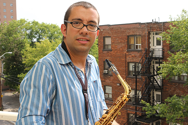 BRIAN BAKER/TOWN CRIER MUSIC FROM THE BIG BALCONY: Juan Arce, saxophonist for the band Turbo Street Funk, pursued his passion for music after dropping out of engineering school at Ryerson.